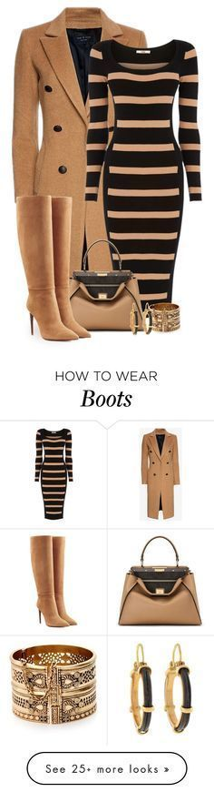 Camel and Black by terry-tlc on Polyvore with Rag & Bone, Oasis, Fendi, R … #branddresses