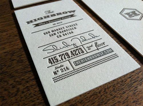 Letterpress Highbrow business card | Pride. | Pinterest | Business ...
