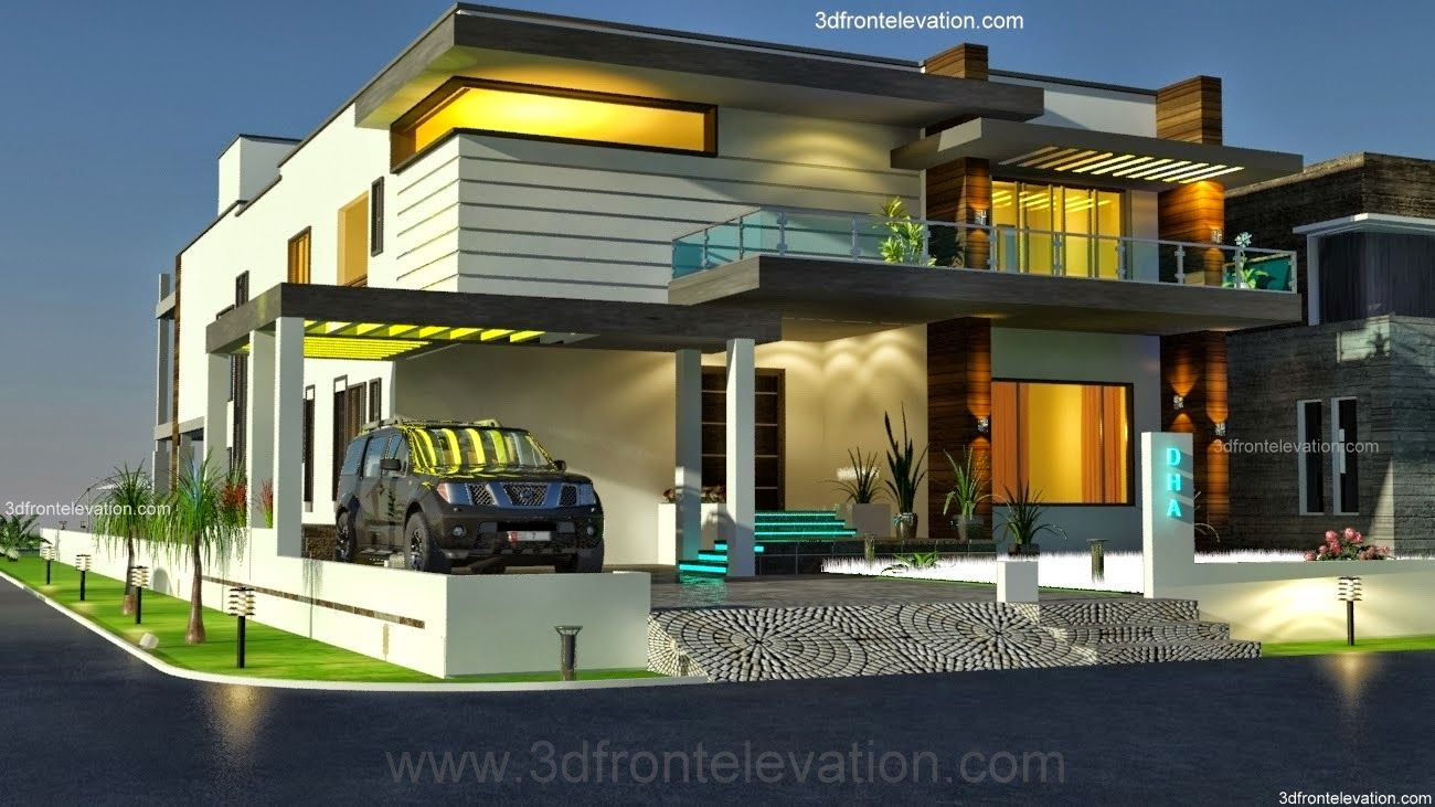 2 2 kanal dha modern contemporary house design with for Images of front view of beautiful modern houses