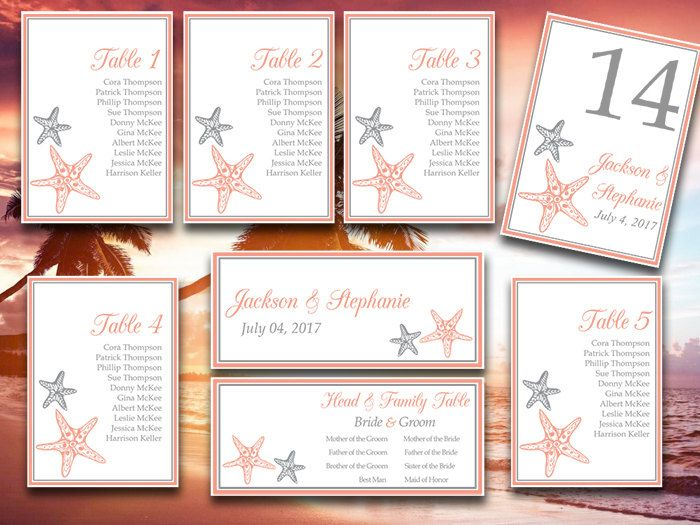 Starfish Wedding Seating Chart Template - Printable Wedding - number chart template