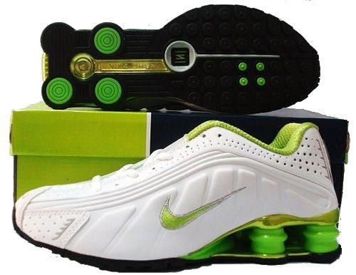 Mens Mens Nike Shox R4 Shoes White Green