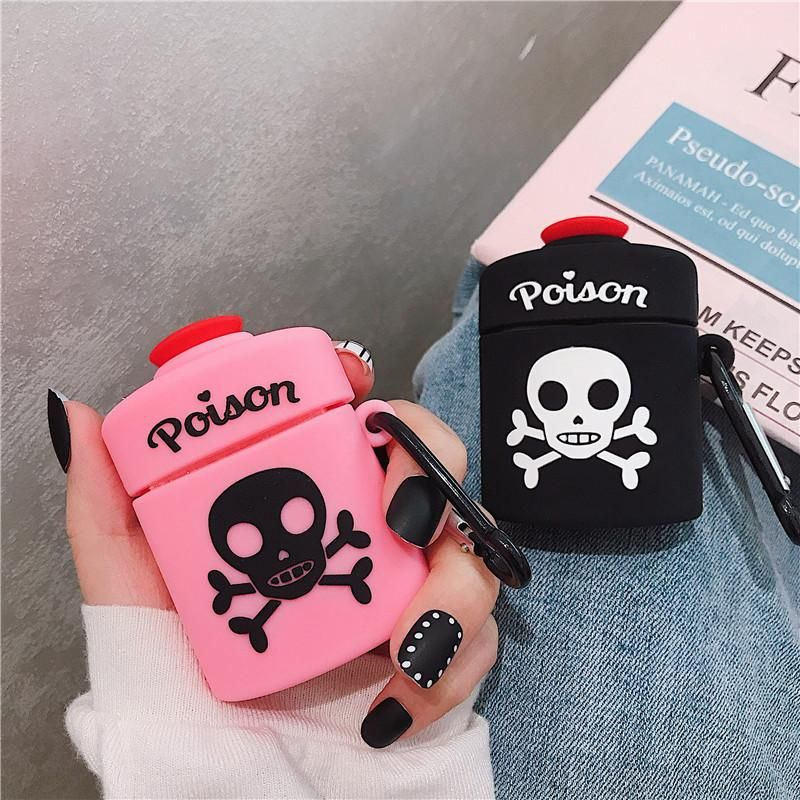 Protect your earphones with this skull silicone caseItem Type: BagsSize: For Airpods Case Protective BagModel Number: For AirPods 1 2Material: SiliconeType: 3D Cartoon Poison Skull Bone Earphone CasesStyle: Cute Bluetooth CaseMaterial: SiliconeQuality: A++++More Cell Phone Cases & Accessories HERE