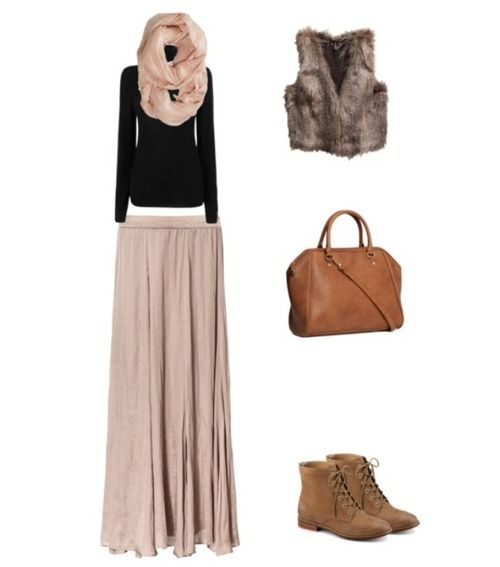 maxi skirt and vest