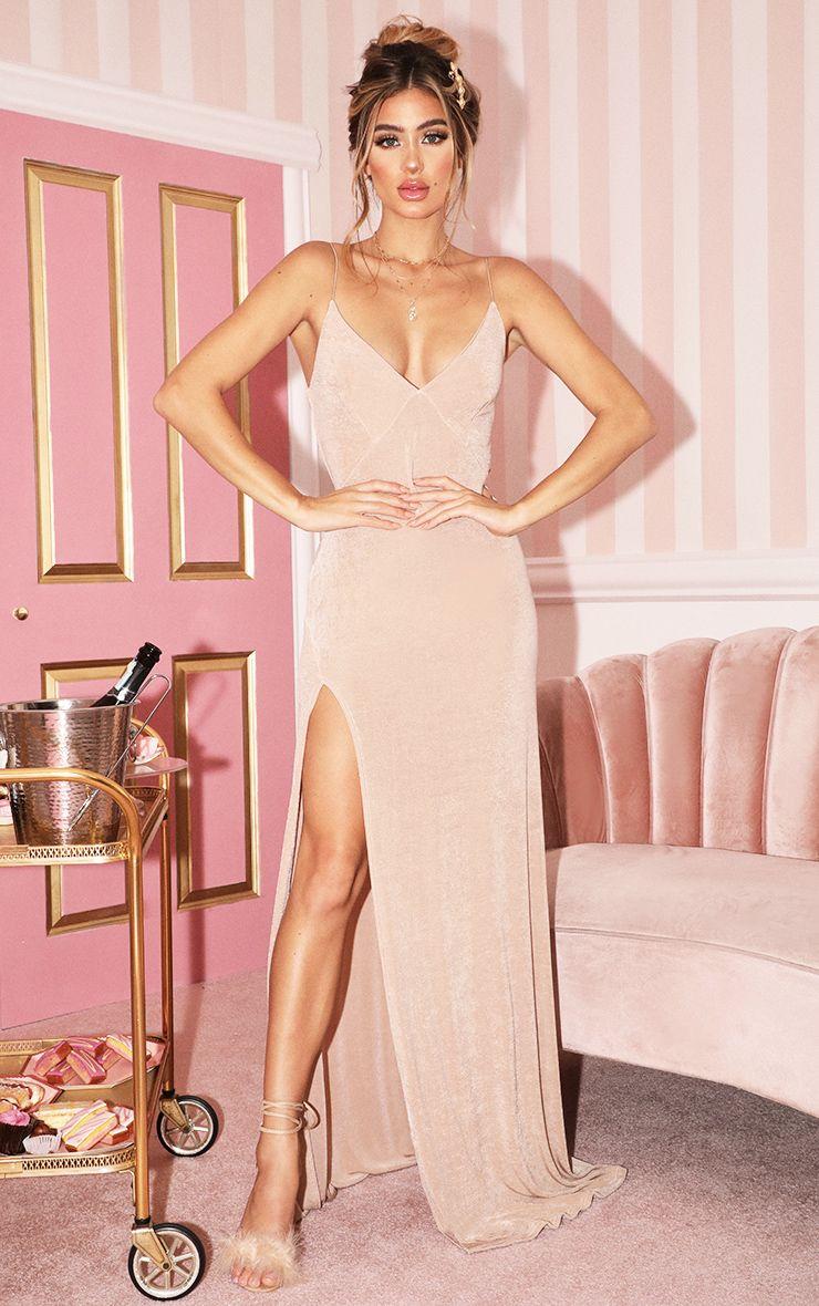champagne strappy thigh split maxi dresschampagne dress