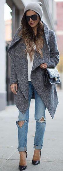 Mia Mia Mine Gray Waterfall Jacket Fall Street Style Inspo