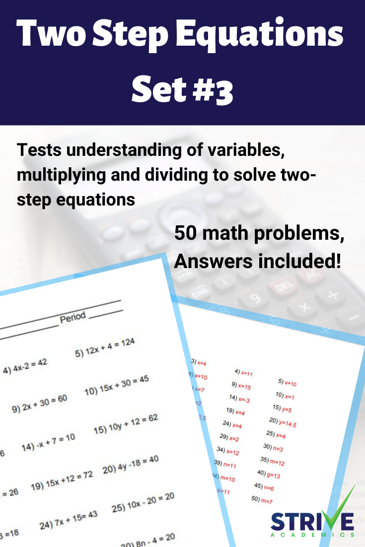Two Step Equations Set 3 Two Step Equations Equations One Step Equations [ 1102 x 735 Pixel ]
