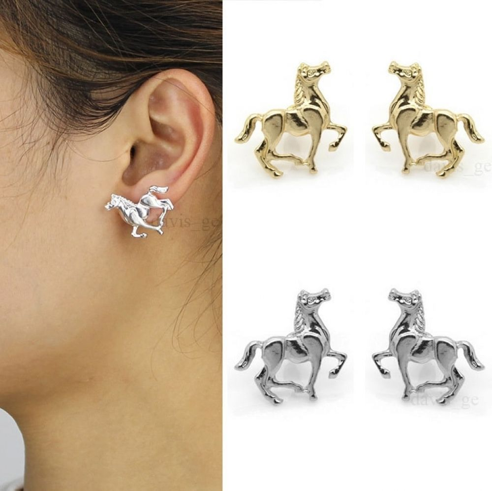 HORSES HEAD STERLING SILVER EAR STUDS  Free Gift Box