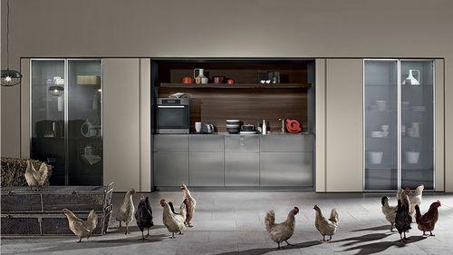 Moderne Küche / Metall / Versteckte / Schiebetüren TU23A By Massimo  Castagna Rossana