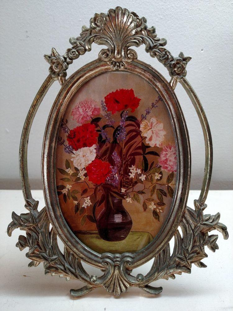Vintage Vanity Floral Metal Oval Ornate Picture Frame w/Velvet Easel Stand