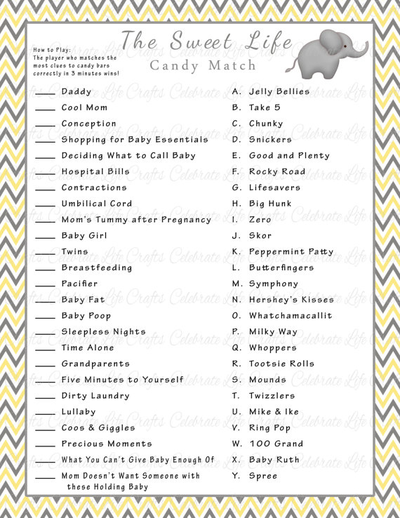 picture about Candy Bar Baby Shower Game Free Printable named Cute Daily life Sweet Bar Game Boy or girl Shower Sport with Options