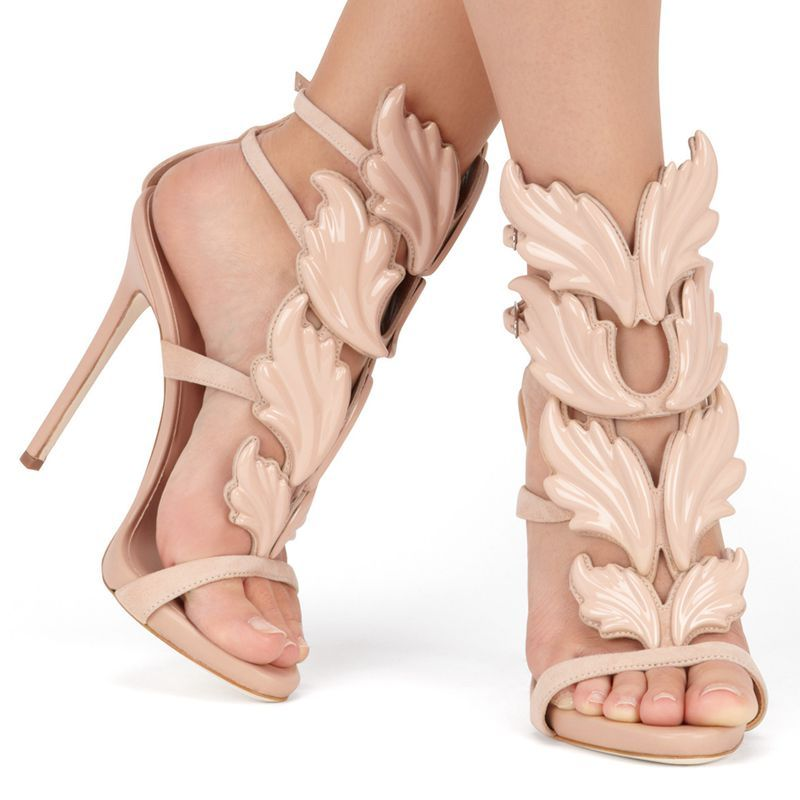 Hot sell women high heel sandals gold leaf flame gladiator sandal shoes  party dress shoe woman patent leather high heels-in Women s Sandals from  Shoes on ... ac166124f471