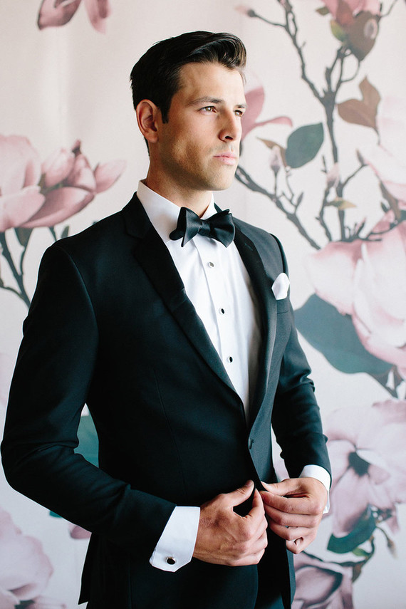 Floral Wedding Party Style The Black Tux Groomsmen 100 Layer Cake In 2020 Black Tux Wedding Groom Tuxedo Black Groom Suit Black