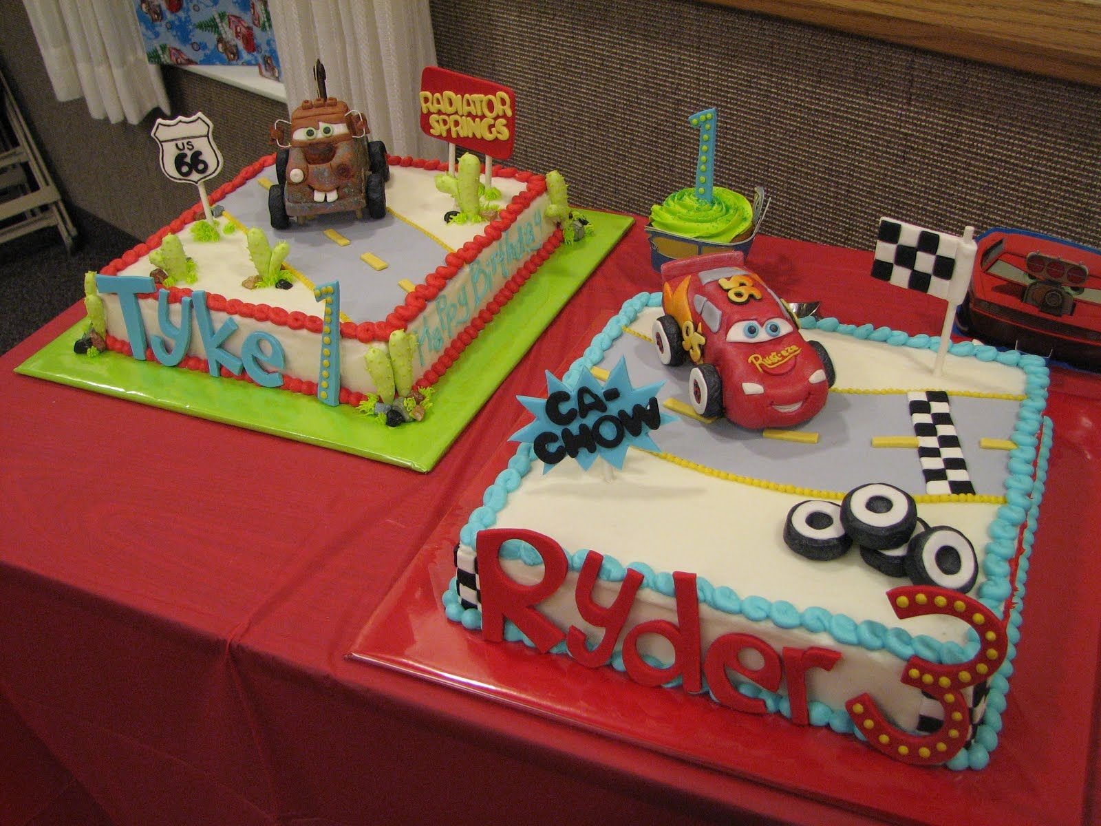 Disney lightening mcqueen and tow mater cakes by decadent