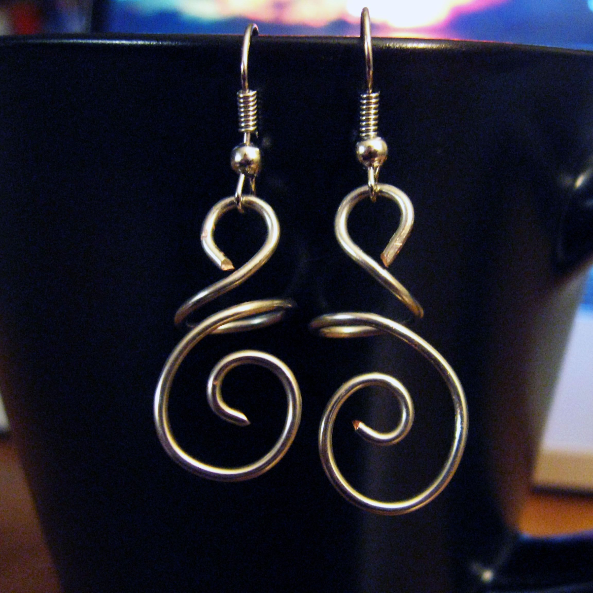 Diy hanging swirl wire earrings wire jewelry earrings