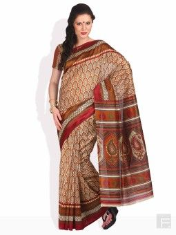 Buy Online Shopping Deals Offers In India Stylish Fabulous ferm printed saree for women. Classy Saree pallu features paisley and floral inspired prints. Saree perfectly complemented by its geometric printed border. Women saree with a fashioble blouse piece. Drape yourself in pure elegance with this chic saree.