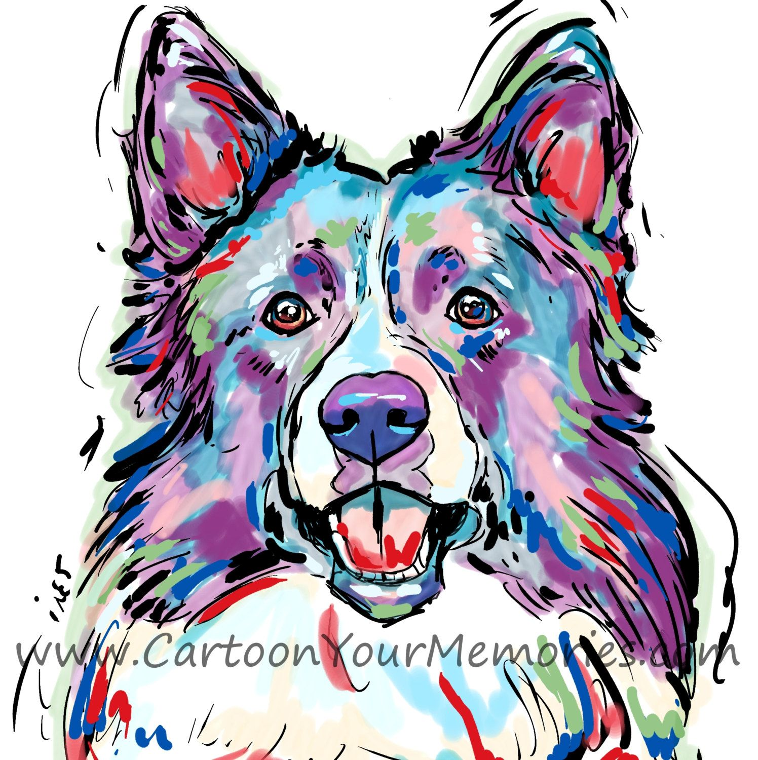 Border Collie art print by CartoonYourMemories on Etsy