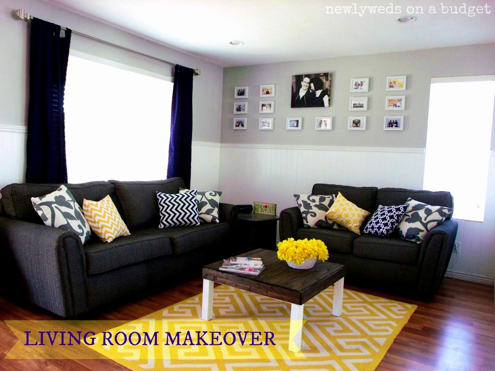 Gray Yellow And Black Living Room