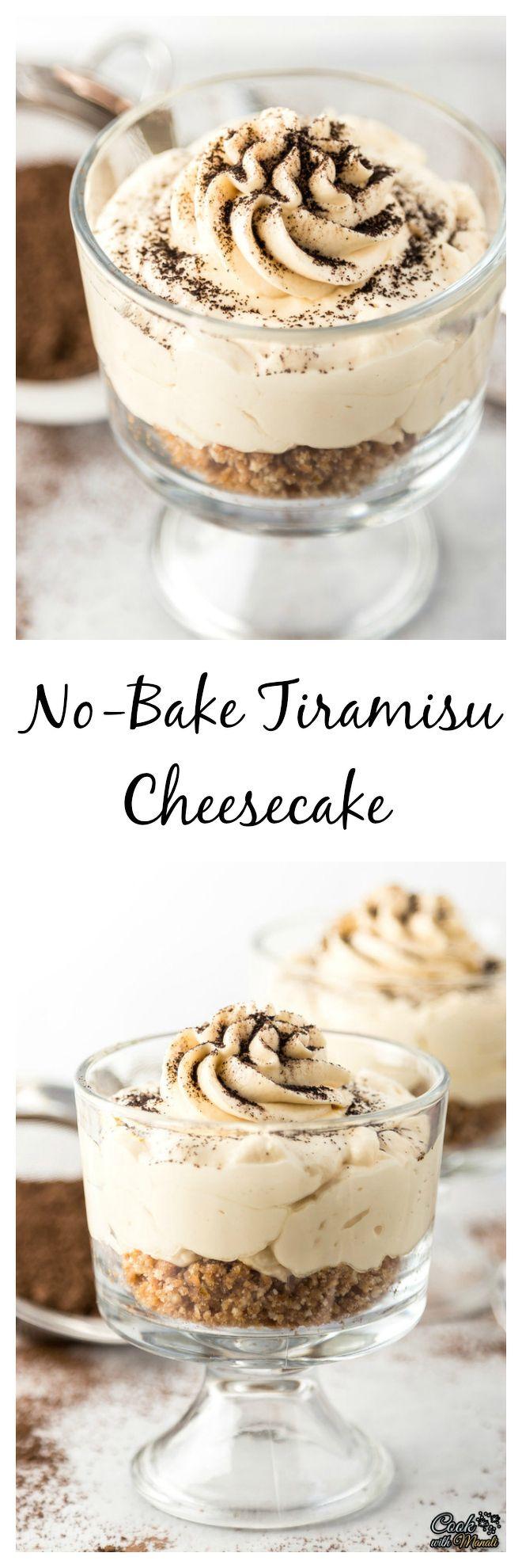Individual No Bake Tiramisu Cheesecake is an easy way to satisfy your Tiramisu craving! #cheesecake #nobake #dessert