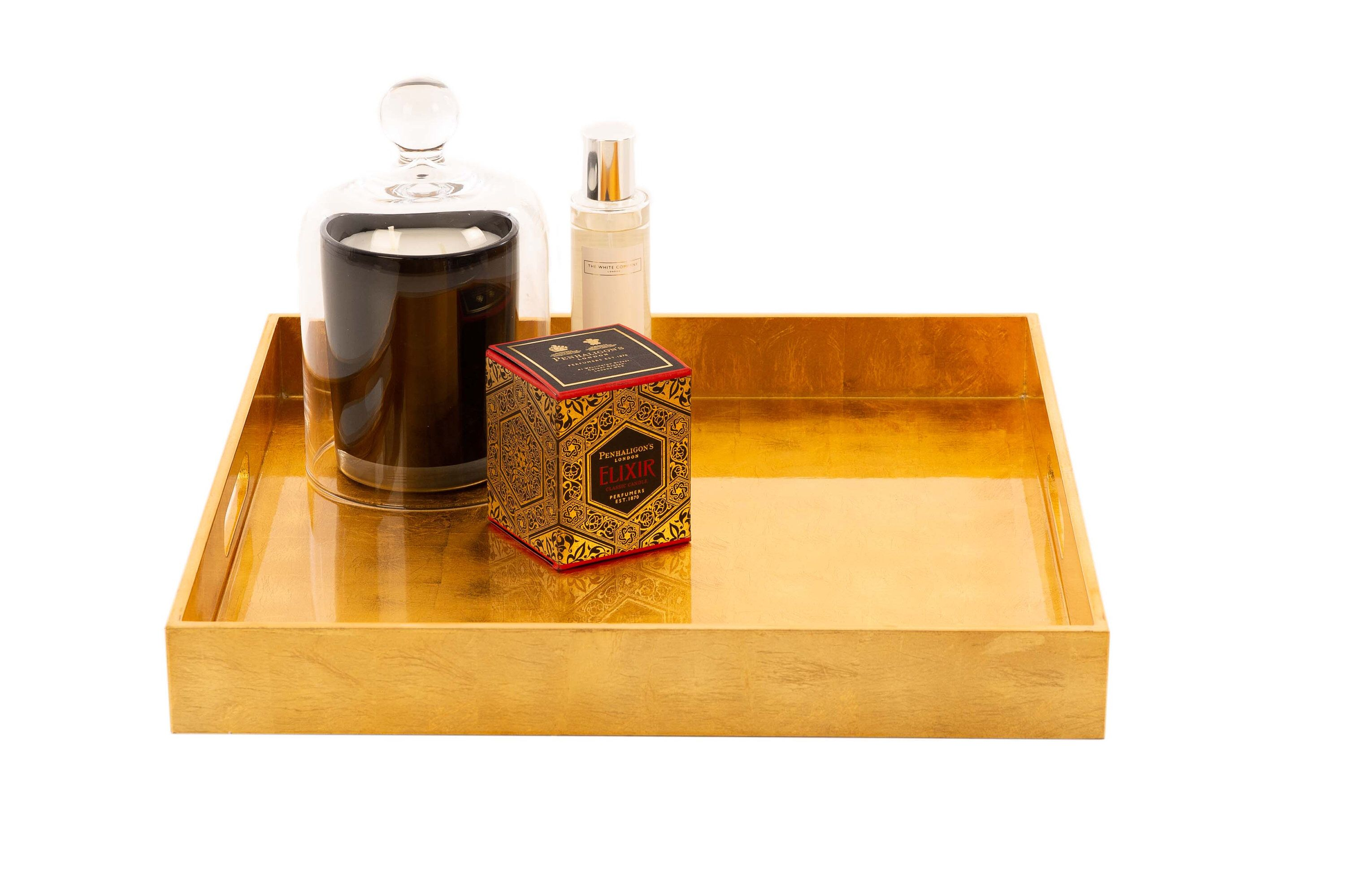 Gold Square Hand Lacquered Coffee Table Tray, Ottoman Tray ...