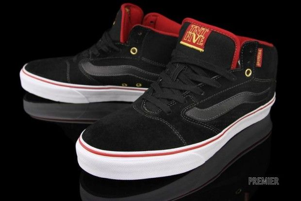 3157d623178812 Spitfire x Vans TNT 5 Mid Black Red-Yellow