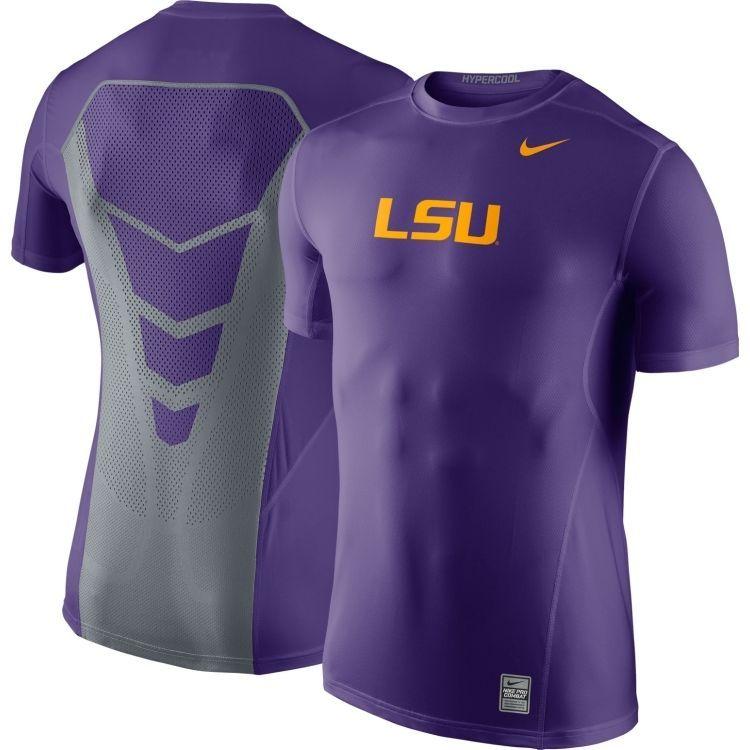 Nike LSU Tigers Pro Combat Hypercool 3.0 Mens Dri-FIT Shirt Purple Gold  Grey  Nike 52363ad7dc9b9