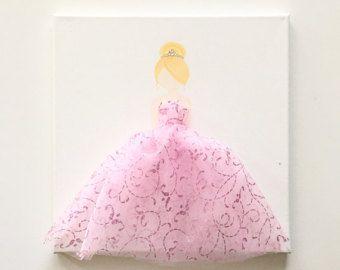 Arte Custom princesa en tela set de 3 rosa tutú por LetsPretendArt