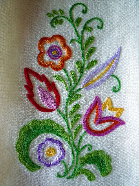 Folkloric Hand-Embroidered Towel by Melys Hand-Embroidery, via Flickr