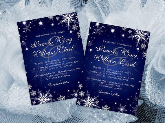 Diy printable wedding invitation card template editable ms word diy printable wedding invitation card template editable ms word file 5 x 7 instant download winter white snowflakes royal blue stopboris Gallery