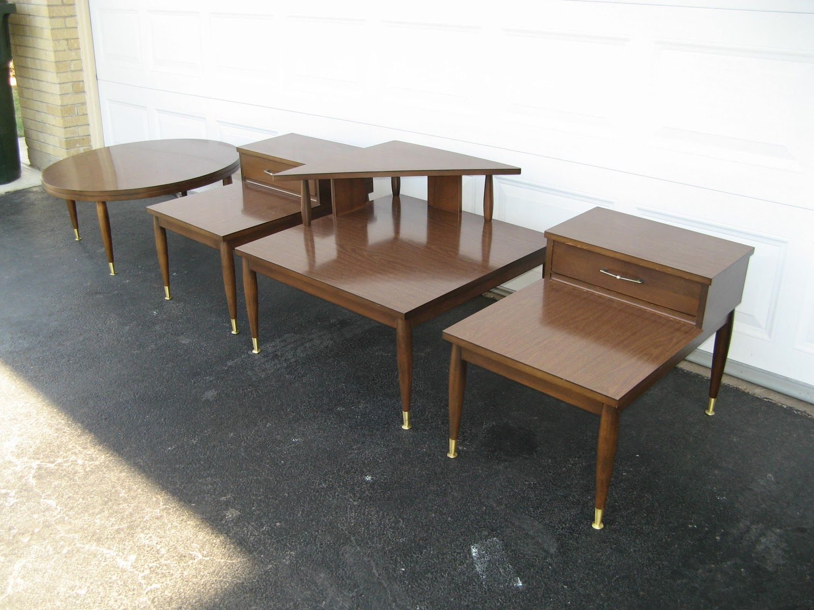 Vintage Mersman End Tables Corner Table and Coffee Table Set is