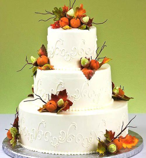 Edible Gumpaste Fall Autumn Sugar Leaves Acorns Twigs Pumpkins Wedding Cake In Home Garden Supplies Toppers