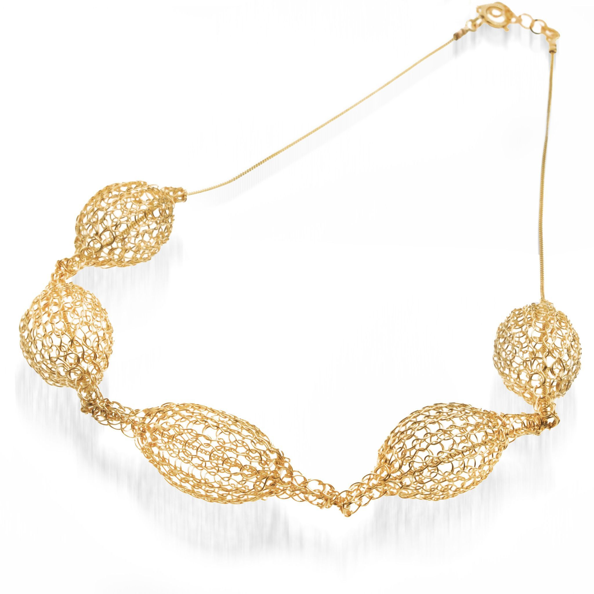 5 Crocheted gold filled organic pod necklace , unique handmade wire ...