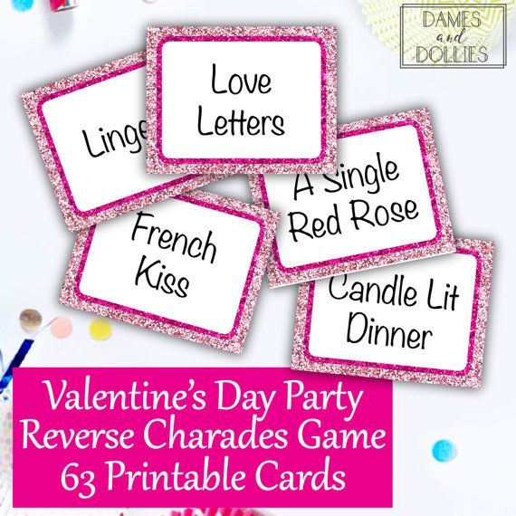 Valentine's Day Party Reverse Charades by DamesAndDollies on Etsy