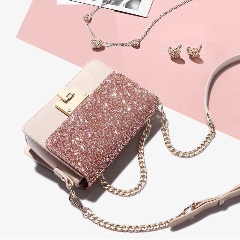 Pink Sparkly Crossbody Bags Cute Handbags on Sale with Worldwide FREE SHIPPING Start at Your New Bagining! #bags