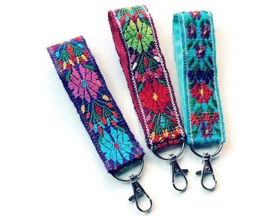 01bb71305815 Wrist Keychain, Keychain Wristlet, Key Ring, Floral Fabric Key Fob ...