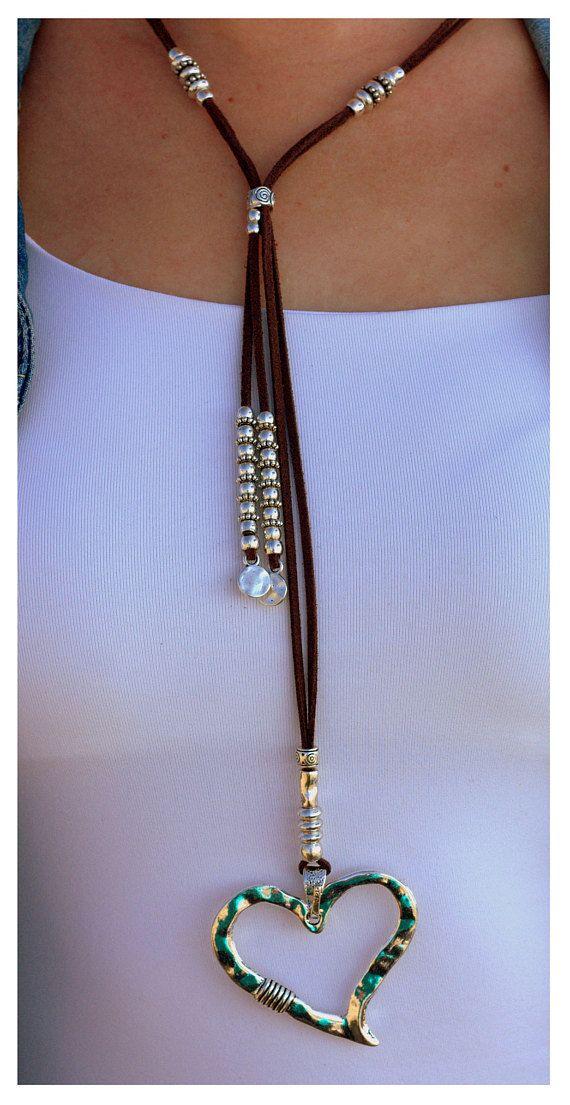 2bc62f014a7f Silver Heart sliding choker Women Jewelry Boho jewelry Vegan ...