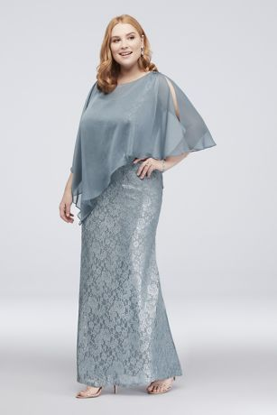 ea657ed8095 Crafted of shimmery glitter lace, this classic plus-size tank dress comes  with a removable, beaded chiffon capelet. By Ignite Polyester Back zipper;  ...