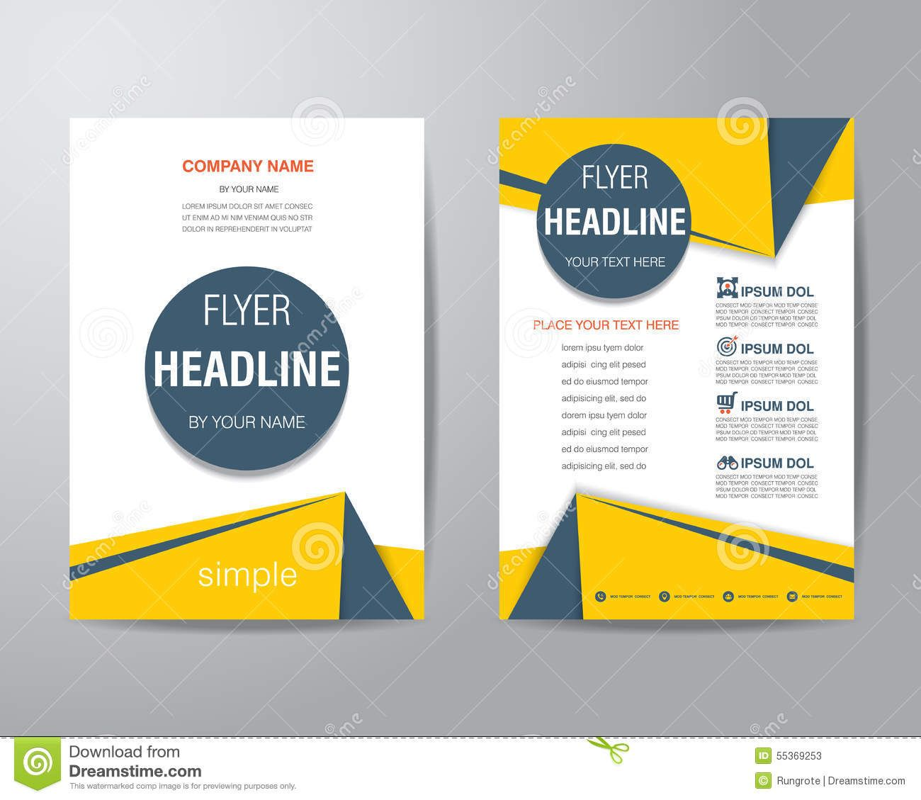 Simple Triangle And Circle Brochure Flyer Design Layout Template In Size,  Vector   Buy This Stock Vector On Shutterstock U0026 Find Other Images.  Pamphlet Layout Template