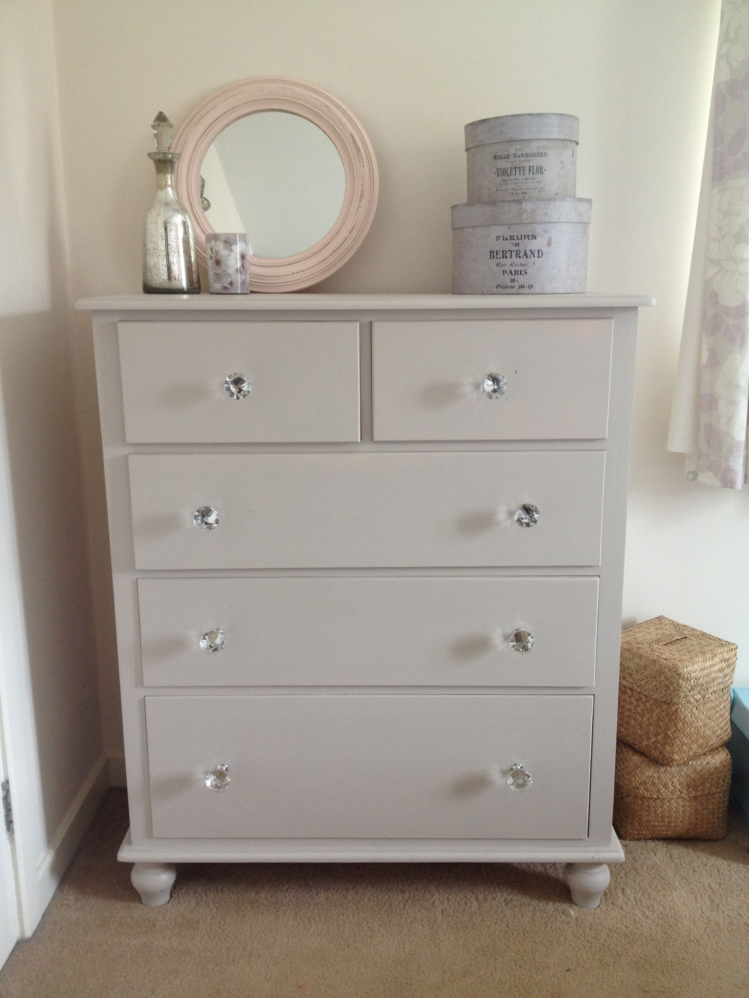 Painted in Farrow and Ball Elephant\'s Breath and glass handles added ...