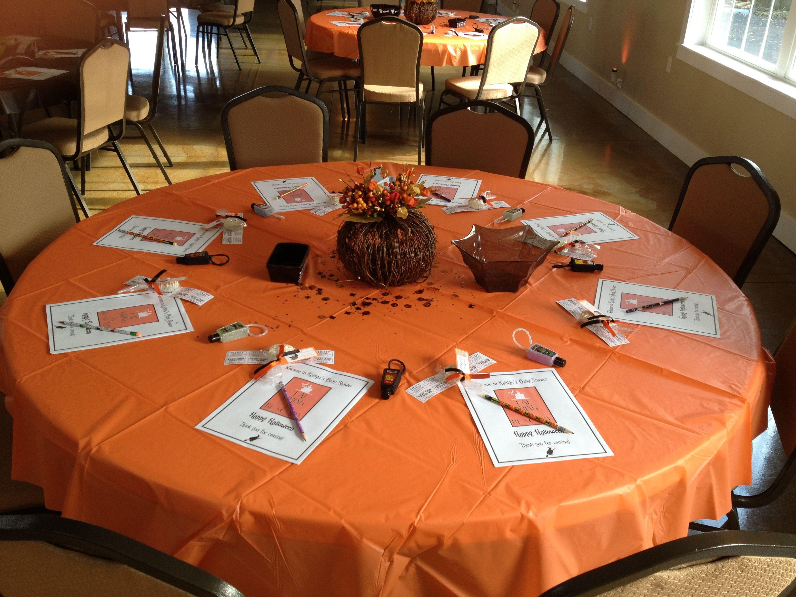 Halloween Themed Baby Shower Table Setup 1