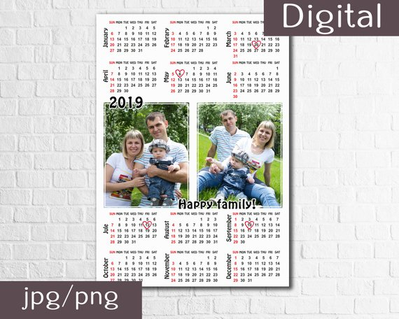 2019 Personalised A4 Wall Photo Calendar perfect Christmas gift