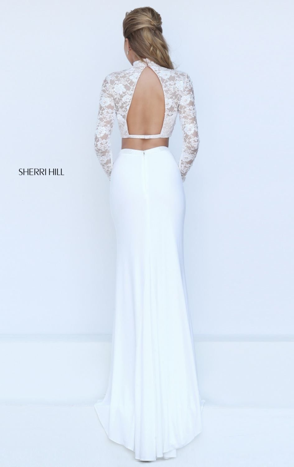 Ivory Sherri Hill 50455 Fitted Two Piece Prom Dress