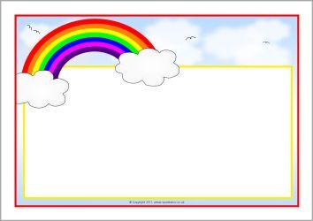 Rainbow Themed A4 Page Borders Sb7475 Sparklebox Ideias Para