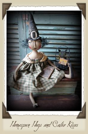 Witch Theodora by Vicki Stevenson ~ Primitive Halloween Witch and Cat Dolls ♥ Homespun Hugs and Calico Kisses