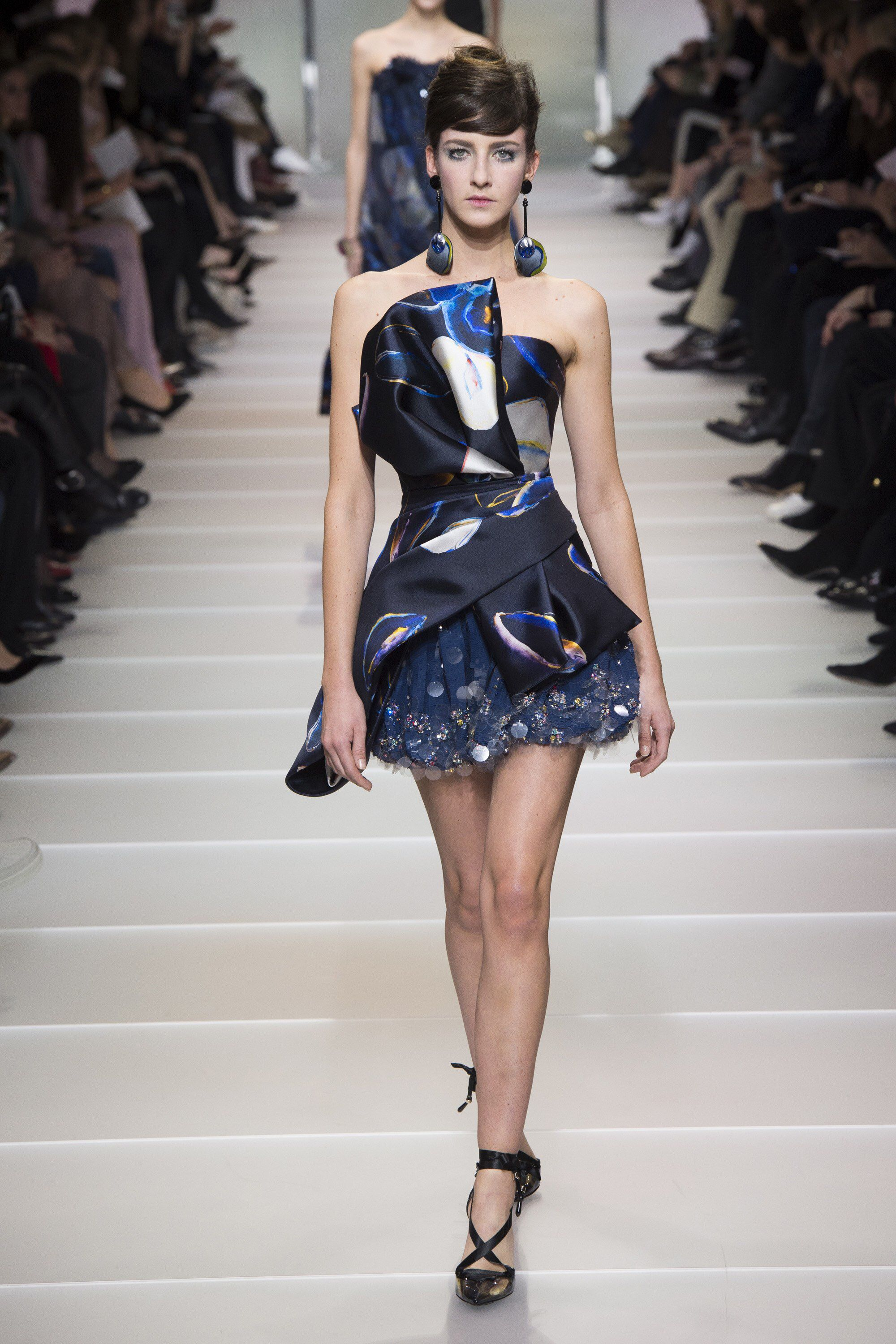 d5df0b3f9cd Armani Privé Spring 2018 Couture  Adorable blue and black mini dress with a  flower petal design! I like the mix of sequins.