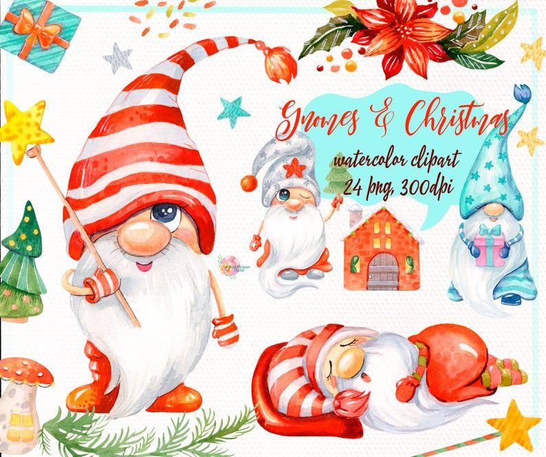 Christmas Gnomes Watercolor Clipart Nordic Scandinavian Png Decor Tree Snow Fairytale Holiday Xmas Baby Cards Dwarf Flower In 2020 Christmas Watercolor Clip Art Watercolor Clipart