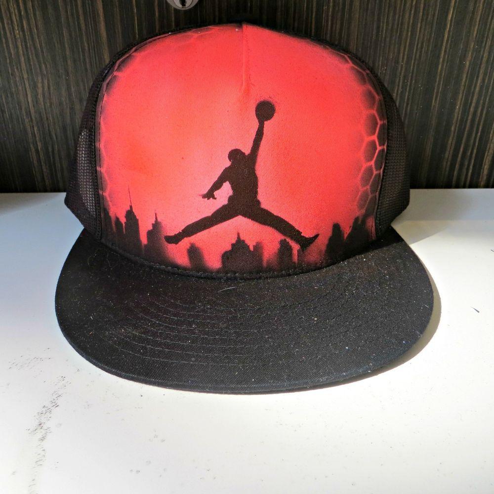Jordan - Custom Airbrush Hat  Handmade  Trucker  327ee0d74d16