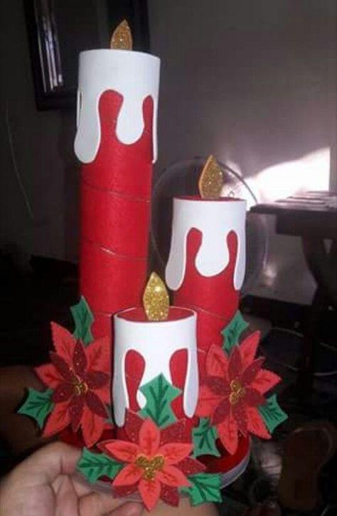 Toca la imagen para aprender hacer estas velas navide as - Adornos de navidad con papel ...