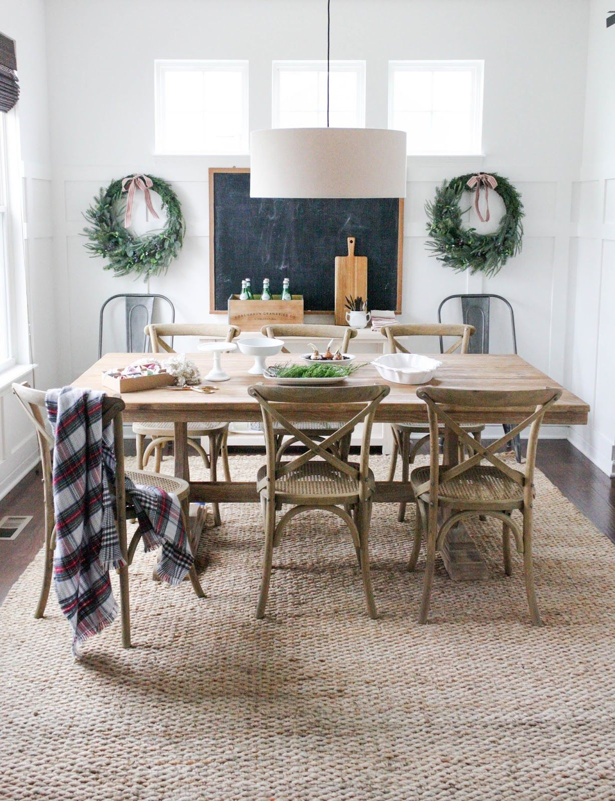 Jute rug from Rugs USA; Dining table from World Market; Chairs from ...