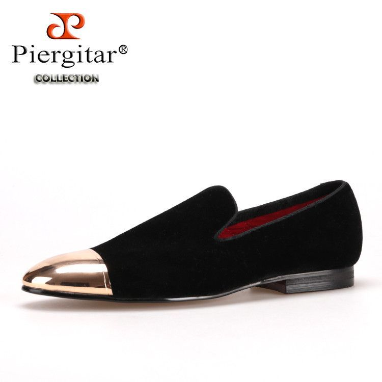 Piergitar black and blue velvet men shoes with gold and sliver toe metal  Fashion Prom and banquet men loafers handmade male flat b446b1465b9d