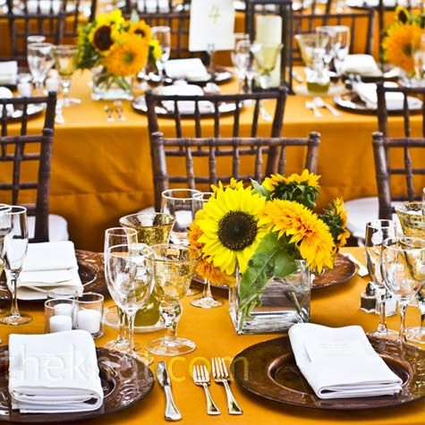 Sunflower center pieces the yellow table cloth isnt awful decorations sunflowers wedding centerpieces inspirations to be adapted for sunflower arrangements for weddings junglespirit Images